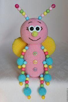 Photo of Бабочка Кругляш с бусинами игрушка вязаная …