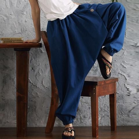 e3ee1b1c04837 2018 Summer ZANZEA Women Cotton Linen Elastic High Waist Solid Harem Cross  Pants Loose Drop Crotch Trousers Oversized Pantalon