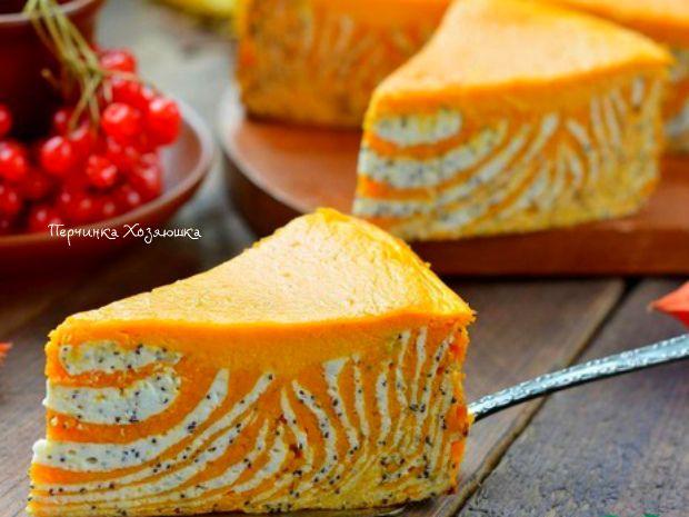 Пирог творожный с тыквой