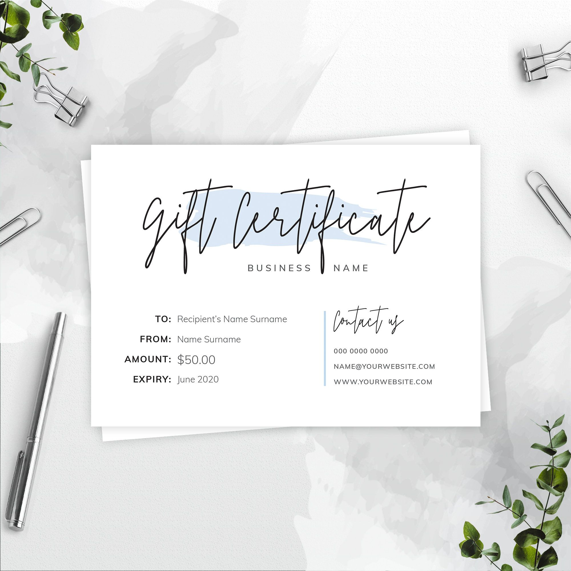Gift Certificate Template Editable Gift Card Template Gift Etsy Gift Card Template Gift Certificate Template Photography Gift Certificate Template
