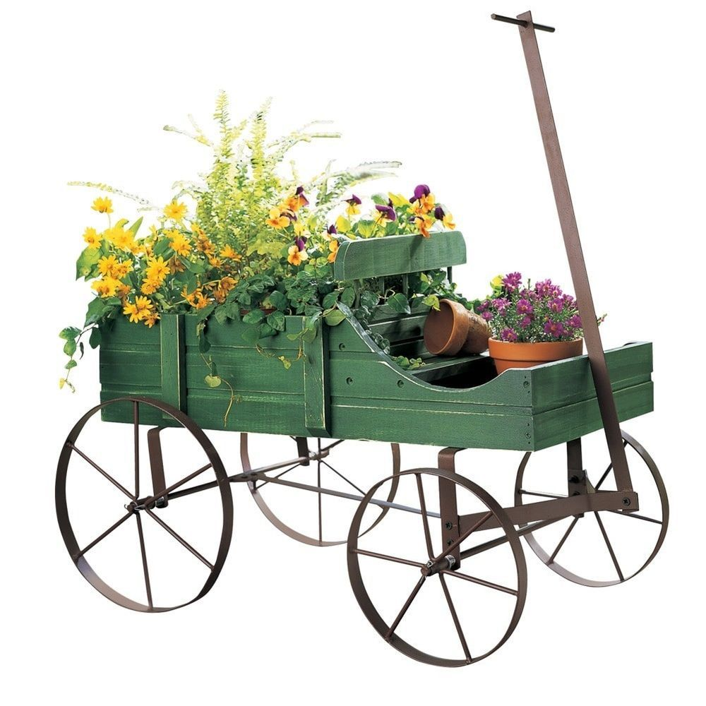 Amish Wagon Decorative Garden Planter Outdoor Weathered Flower Cart Rustic Green #AmishWagonDecorativeGardenPlanter