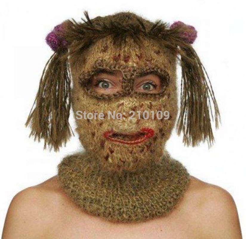 Knitting Funny Hats : Crochet kooky mask beanies men s women hats funny