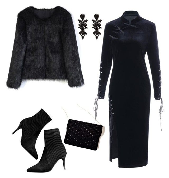 """""""MONOCHROME: ALL BLACK EVERYTHIN"""" by gyhulm ❤ liked on Polyvore featuring Chicwish, chicwish, allblack and gamiss"""