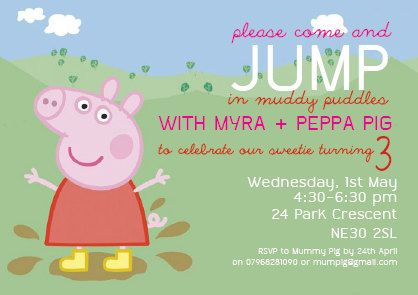 Peppa Pig Invitation Peppa Pig Party Peppa Pig Birthday