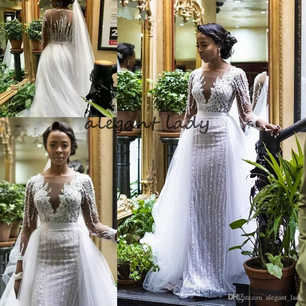 Traditional Wedding Gowns With Detachable Trains: 2019 Luxury Beaded Long Sleeves Mermaid African Wedding
