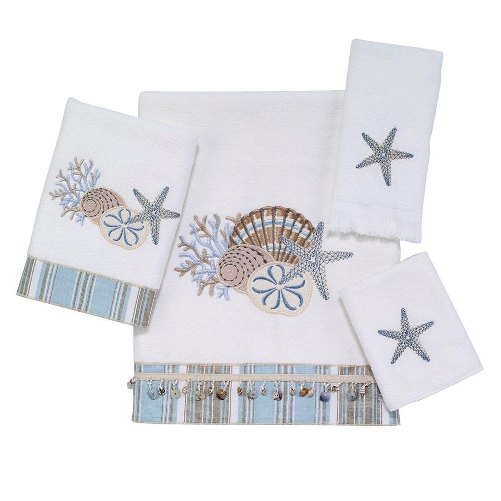 Avanti Linens By The Sea 4 Piece White Geometric Bath Towel Set