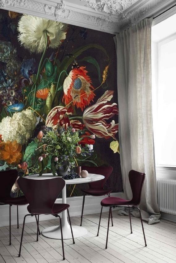 Vintage Floral Wallpaper Peel And Stick Black Large Scale Etsy Vintage Floral Wallpapers Floral Wallpaper Mural Wallpaper
