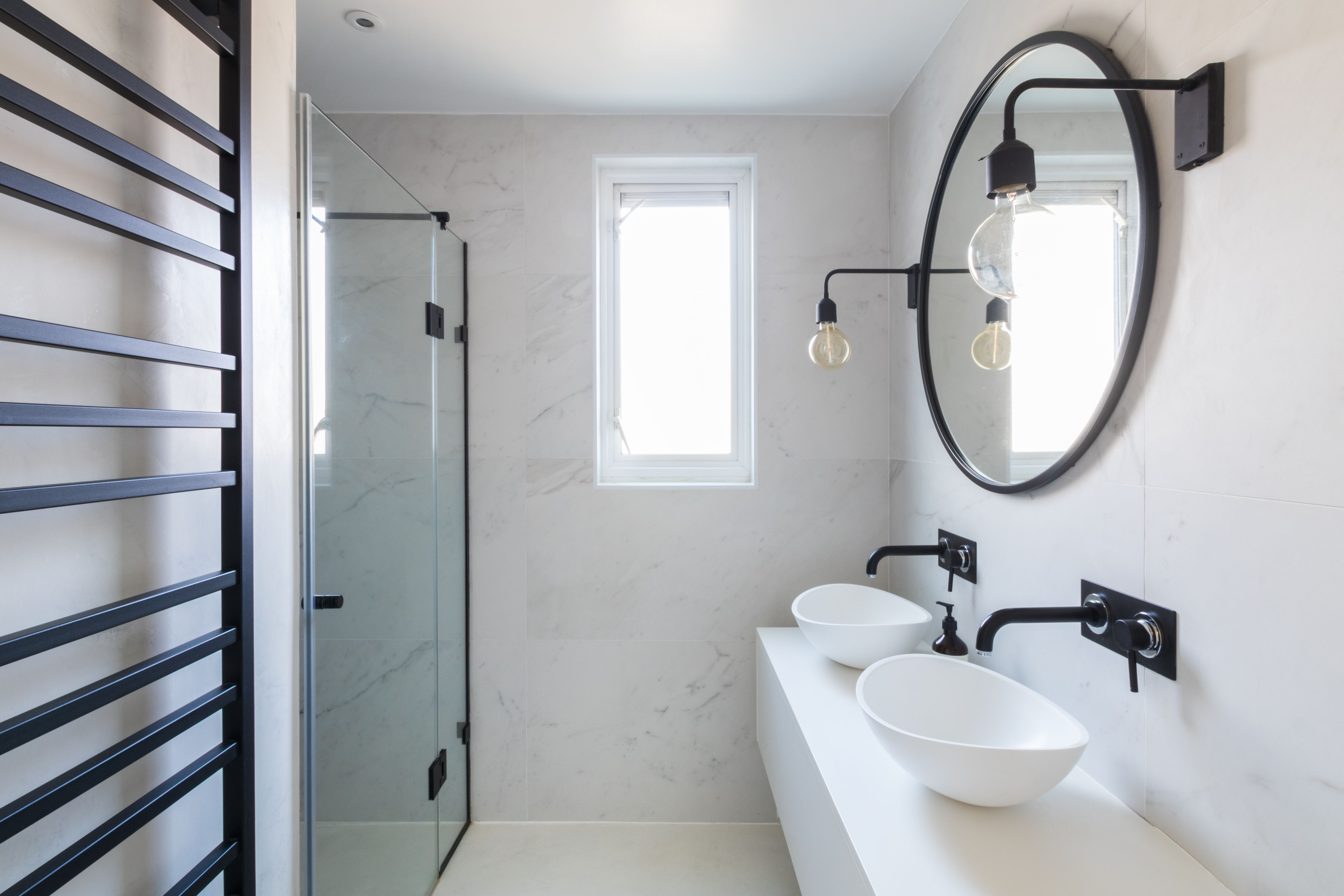 Bathroom Marble Tiles Marble Black And White Bathroom Industrial Luxe Industrial Bathroom