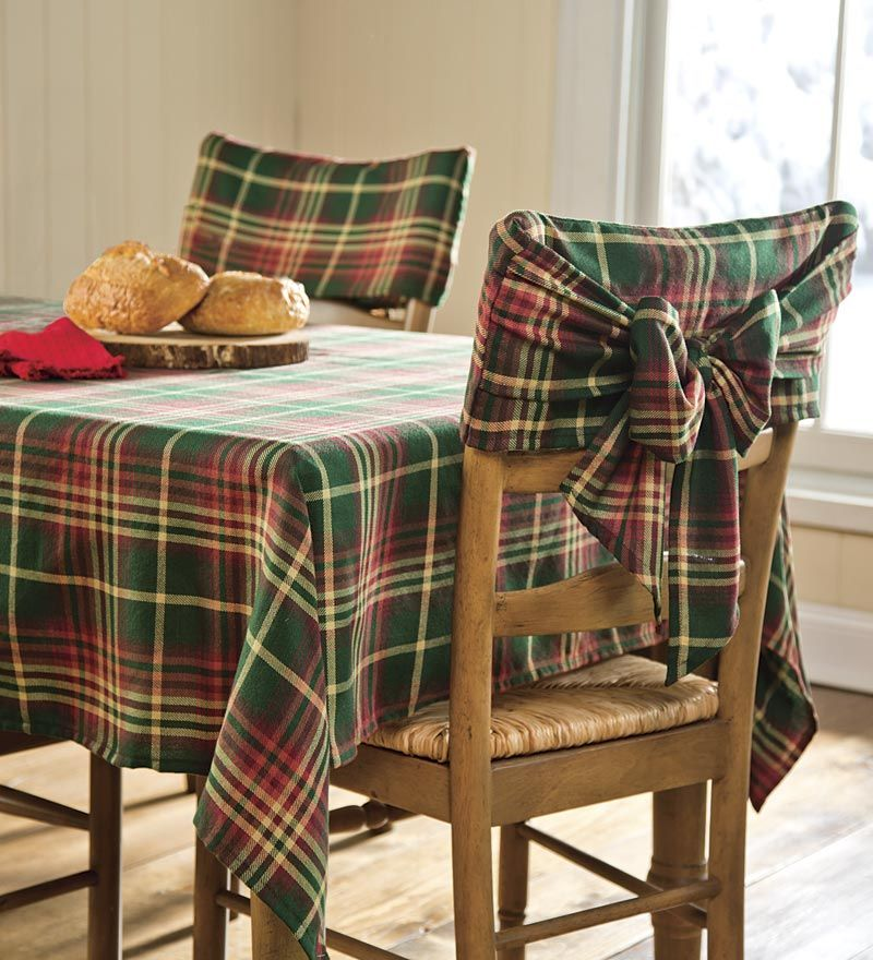 Tropical Sofa Slipcovers American Signature Red & Green Plaid Tablecloths Chair Bows | ...