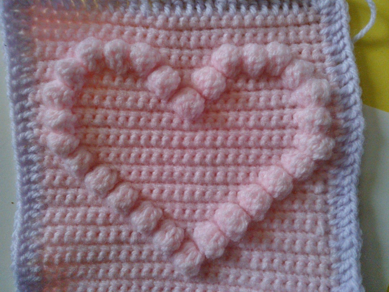Crochet Bobble Heart Pattern Granny Square Video Tutorial