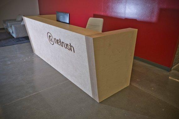 Plywood Reception Desk With Custom Logo Etsy Small Reception Desk Design Reception Desk Reception Desk Design