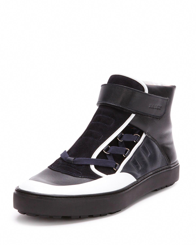 Osman Leather High Top Sneaker Black White Bally Leather High Tops High Top Sneakers Sneakers Black