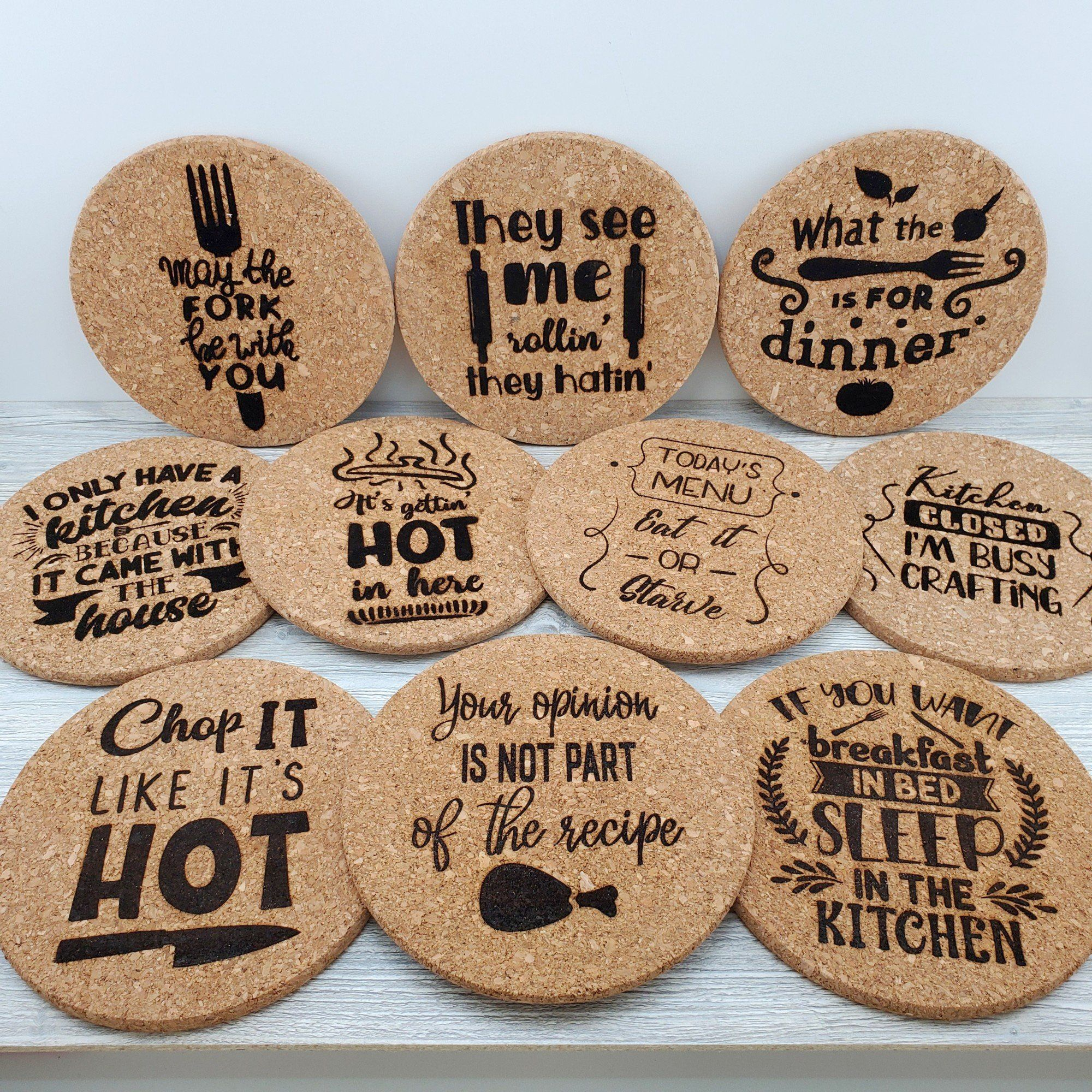 Funny Kitchen Sayings And Phrases Cork Trivet Cork Trivet Kitchen Humor Kitchen Quotes