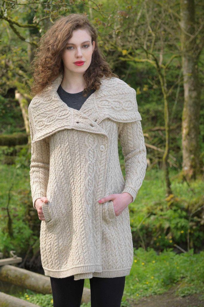 Chunky Collar Aran Coat   Knitting Idea Board   Pinterest   Aran ...