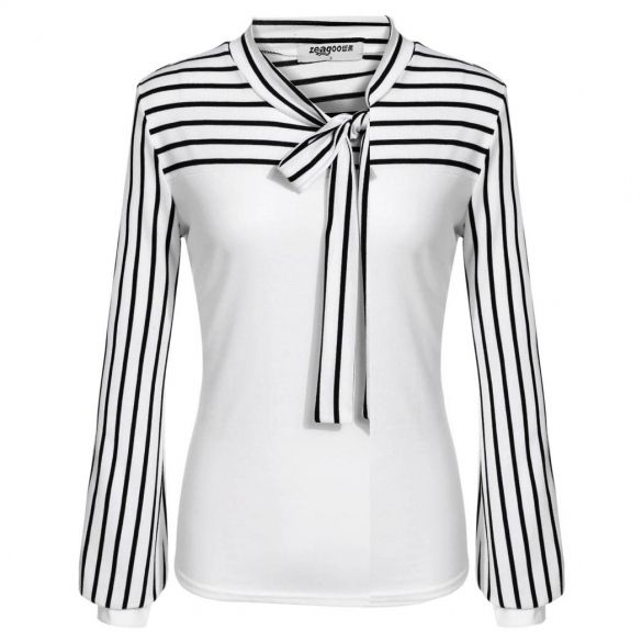 Brand: Zeagoo Material: Cotton Blend and Spandex 2 Colors for your choice: White, Black Item: Tops Style: Blouse Design: http://www.wholesalebuying.com/product/zeagoo-women-fashion-o-neck-long-sleeve-striped-patchwork-slim-blouse-tops-182757?utm_source=pin&utm_medium=cpc&utm_campaign=ZYWB28
