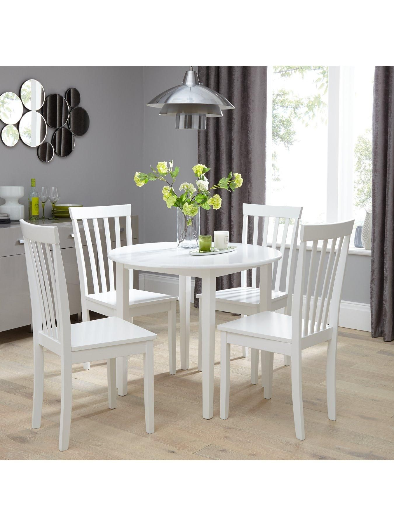 Sophia 90 Cm Round Dining Table 4 Chairs White Kitchen
