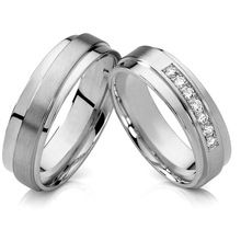 new unique silver 18k white gold color titanium jewelry engagement wedding bands promise rings sets for couples(China (Mainland))