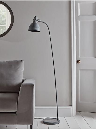 New Greywash Industrial Floor Lamp Floor Lamps Uk Modern Floor Lamps Industrial Floor Lamps