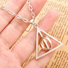Harry Potter Pendant Deathly Hallows Necklace Silver Middle Circle Can Spin Gift