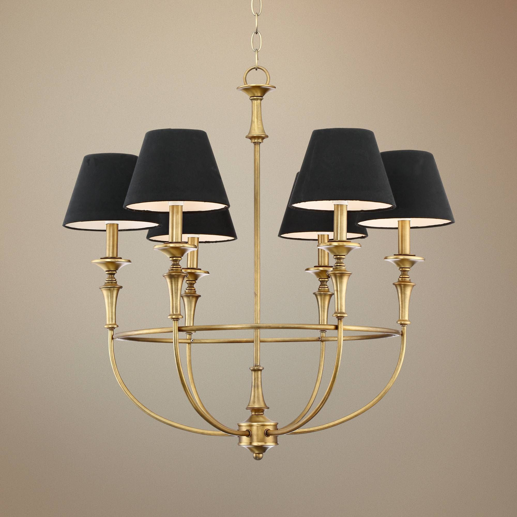 "Lufkin 28"" Wide Polished Brass 6 Light Chandelier 9H339"