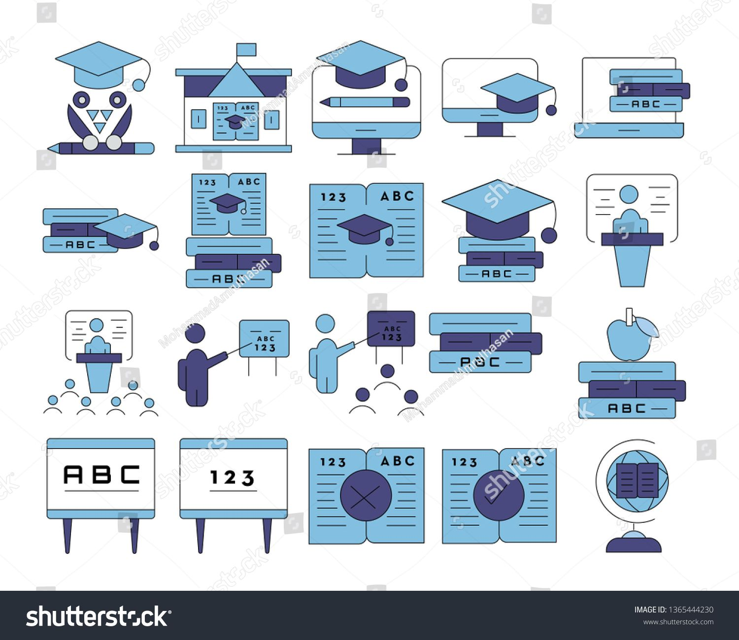 Online Education And E Learning Icon Set Vector Illustration