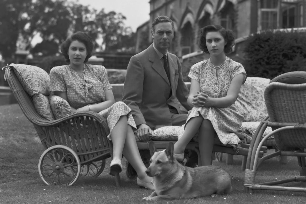 At age 18, Princess Elizabeth received her first very own Pembroke corgi that she named Susan. Here, she is with her dear new pet, as well as her father and sister, Princess Margaret.