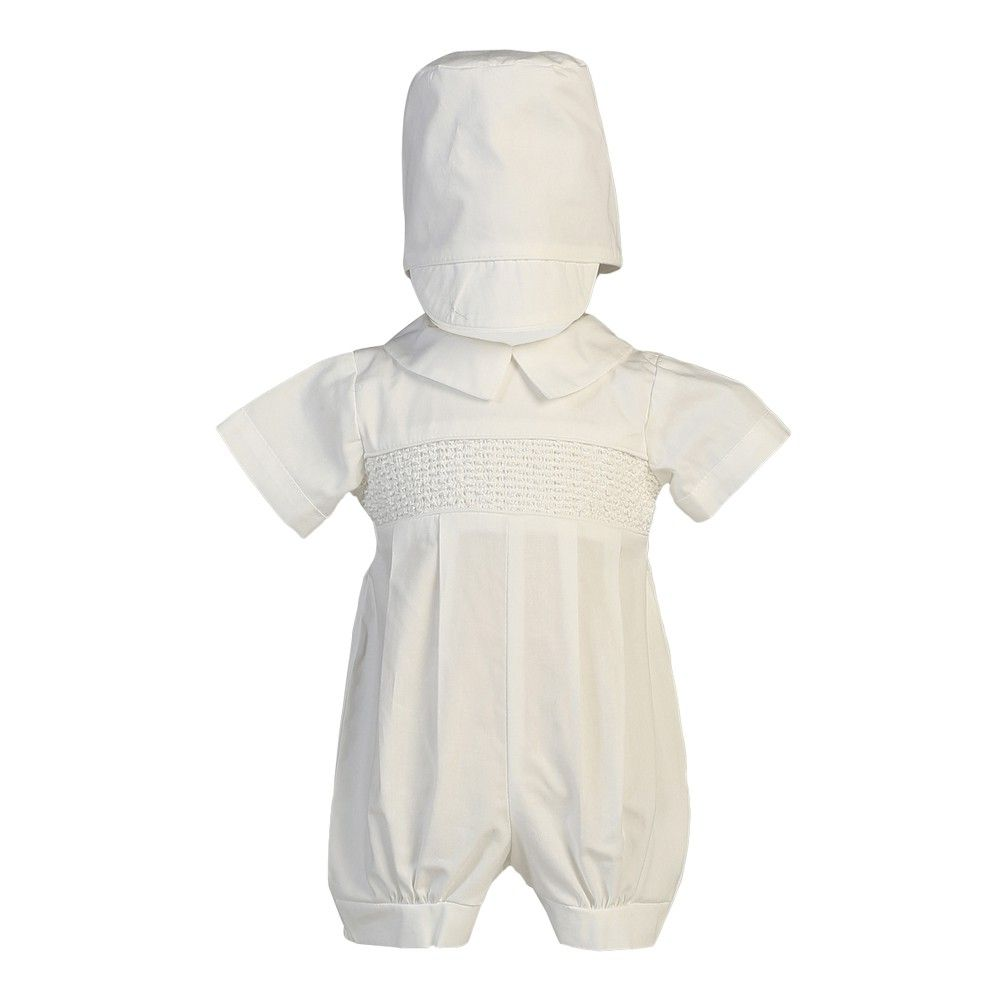 A cute white Jeremy Christening baptism romper set from Lito. The smocked cotton romper has short sleeves and pleated pants. Simple style and quality fabric makes it a perfect option for the festive event. A matching hat is included. Made in USA.