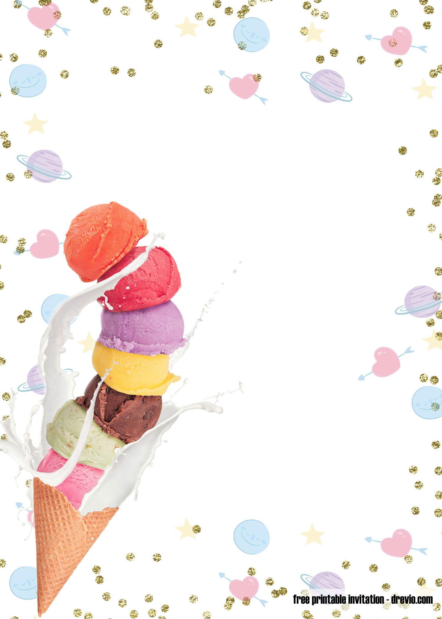 FREE Printable Ice Cream Birthday Invitation Templates  Ice cream