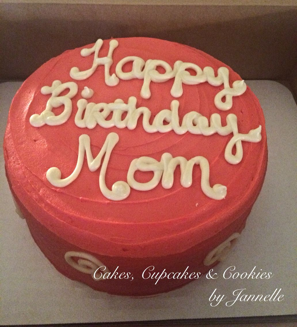 Happy Birthday Mom 8 Inch Double Layer White Cake With