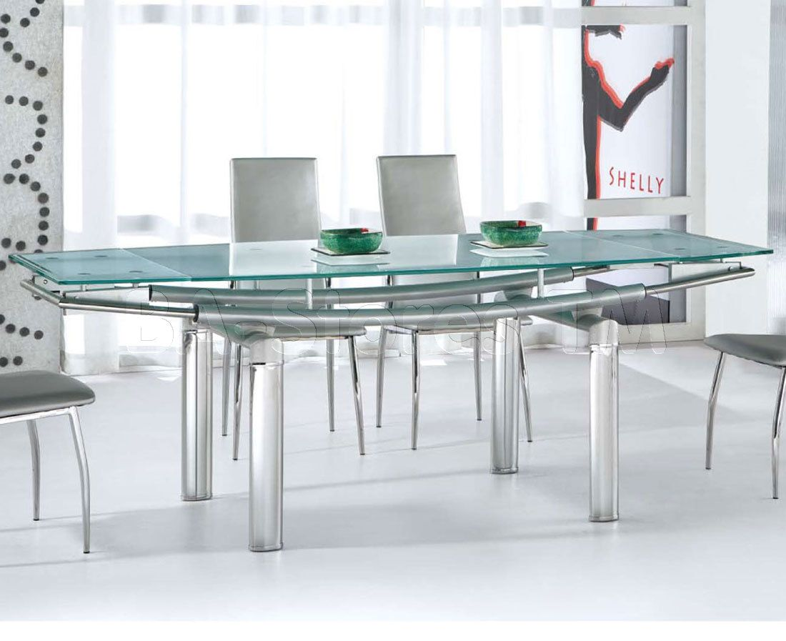 365 Dining Table W Frosted Glass Top  Esf Furniture  House Entrancing Extendable Glass Dining Room Table Design Ideas
