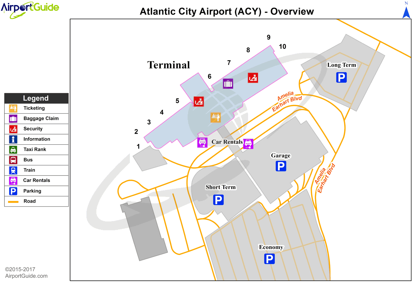 Atlantic City Atlantic City International Acy Airport Terminal Map Overview Airport Guide Atlantic City Airport City