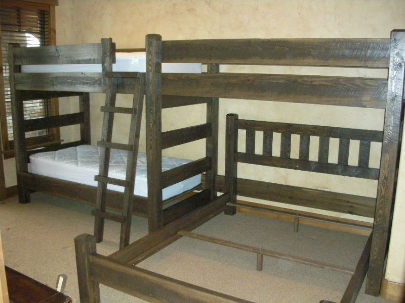 Triple Bunk Bed With A Queen Rustic Barnwood Style Bunk Beds