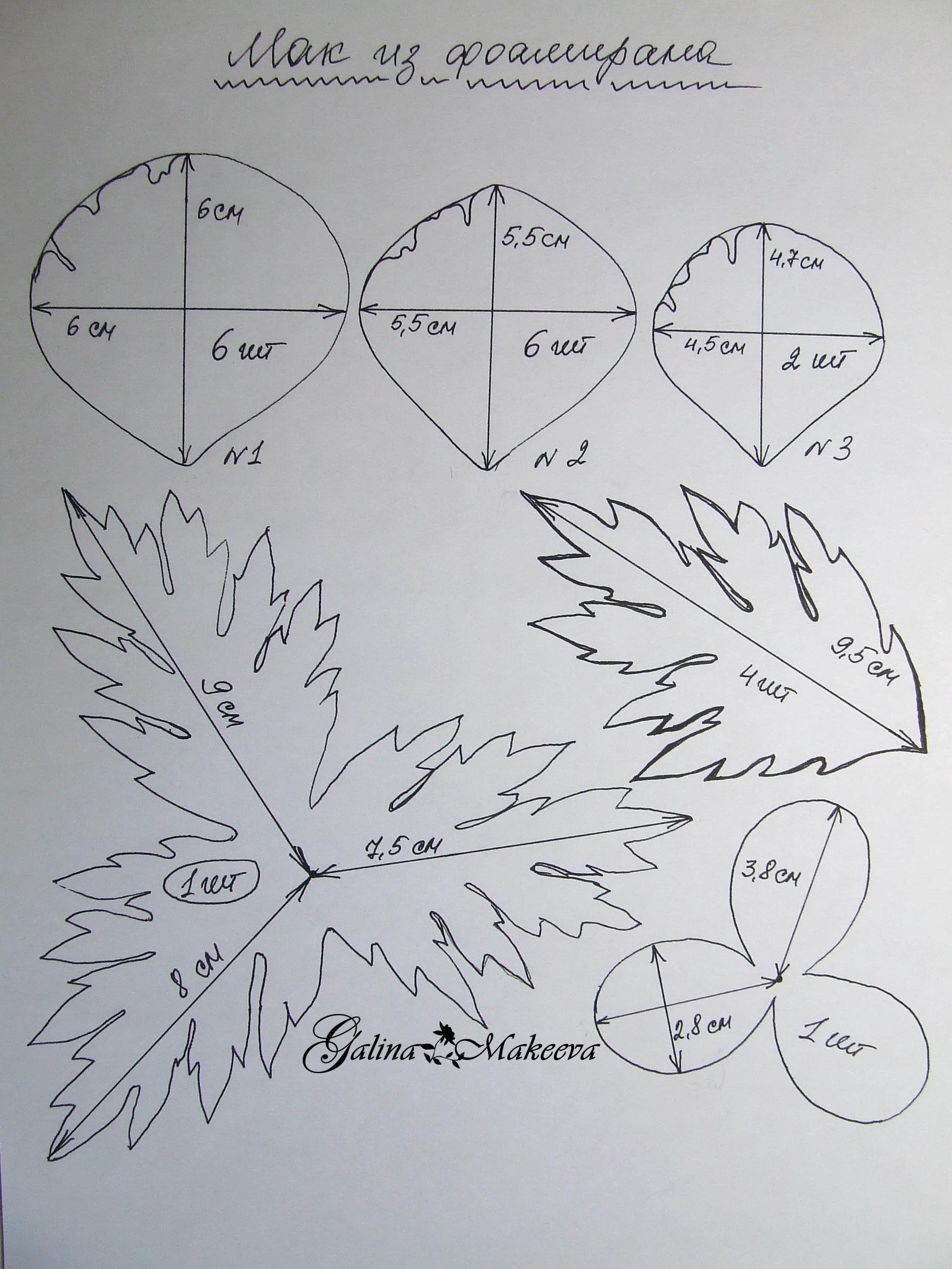 Шаблоны выкроек для фоамирана