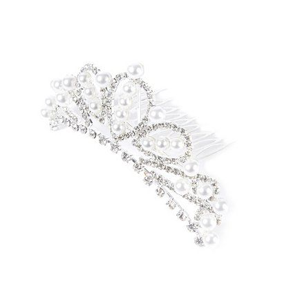 Pearl and Crystal Tiara Hair Comb | Claire's