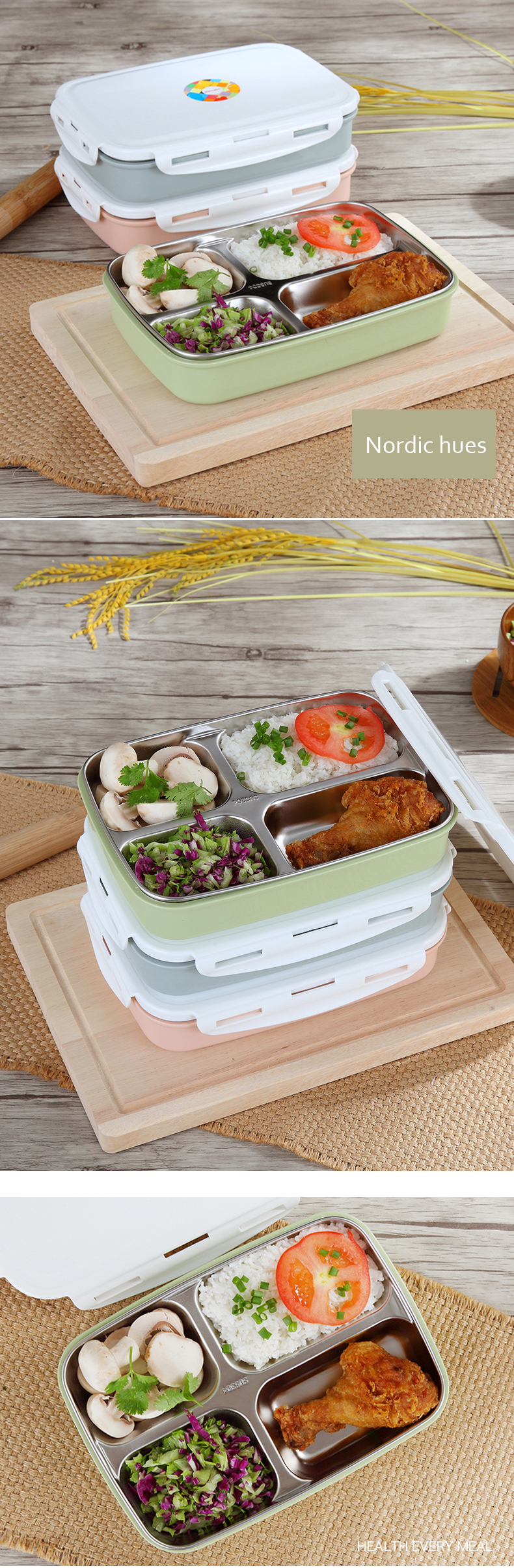 Stainless Steel Lunch Boxs Containers Microwave Bento Box For Kids Water Heating Insulation Cheap - NewChic Mobile.