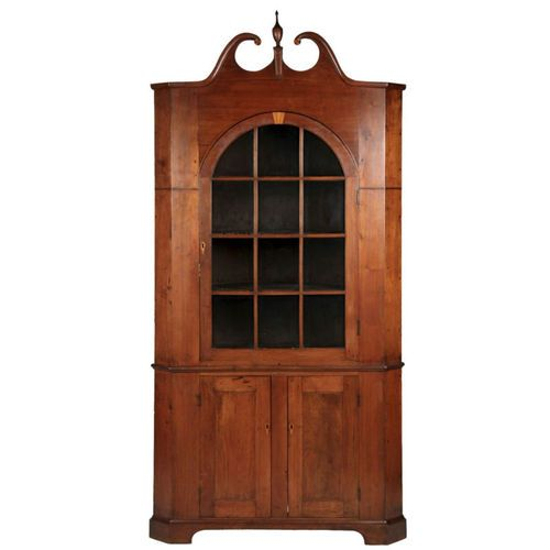 American Federal Antique Corner Cupboard In Walnut Corner