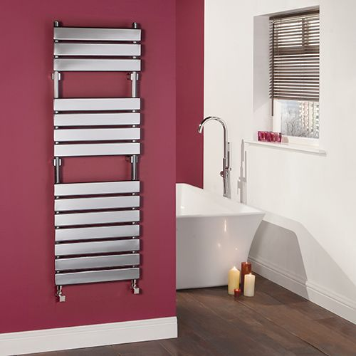 Kudox Flat Electric Towel Radiator: Kudox Signelle Designer Flat Panel Chrome Plated Towel