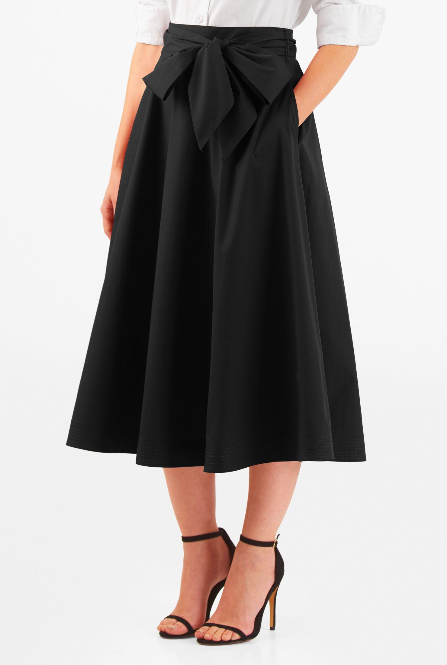 Sash Tie Poplin Midi Skirt Midi Skirt Feminine Skirt Women Dress Online