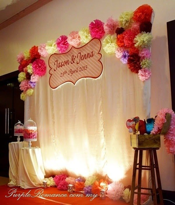 30 Unique And Breathtaking Wedding Backdrop Ideas: Gorg Paper Carnations Backdrop Setup With Neat Props