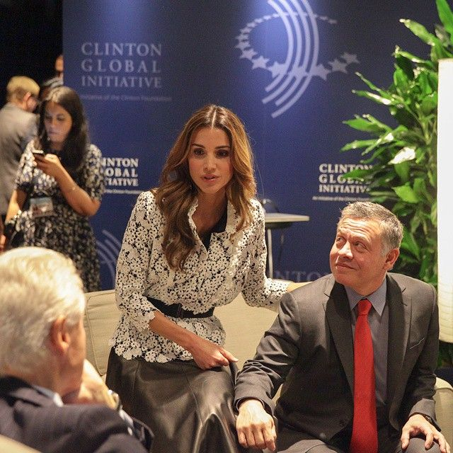 22 September 2014 - Queen Rania and King Al-Abdullah participate in Clinton Global Initiative meeting in New York