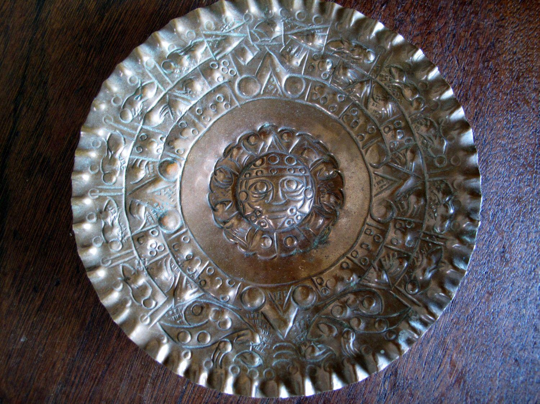 Copper Decorative Plate Aztec Tribal Calendar Sun God Hammered Wall & Copper Decorative Plate Aztec Tribal Calendar Sun God Hammered ...
