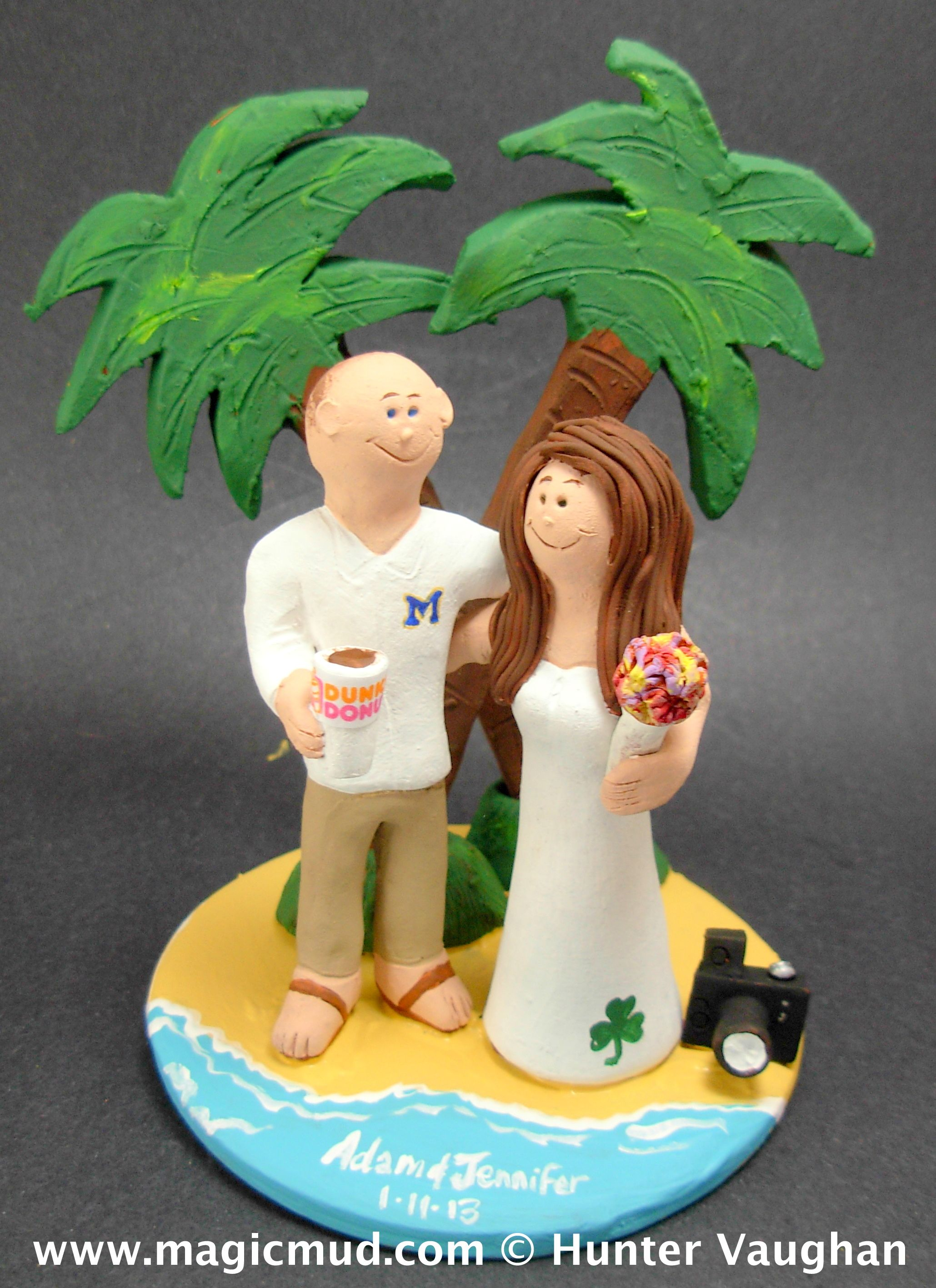 Under the palm trees on beach wedding cake topper by gicmud
