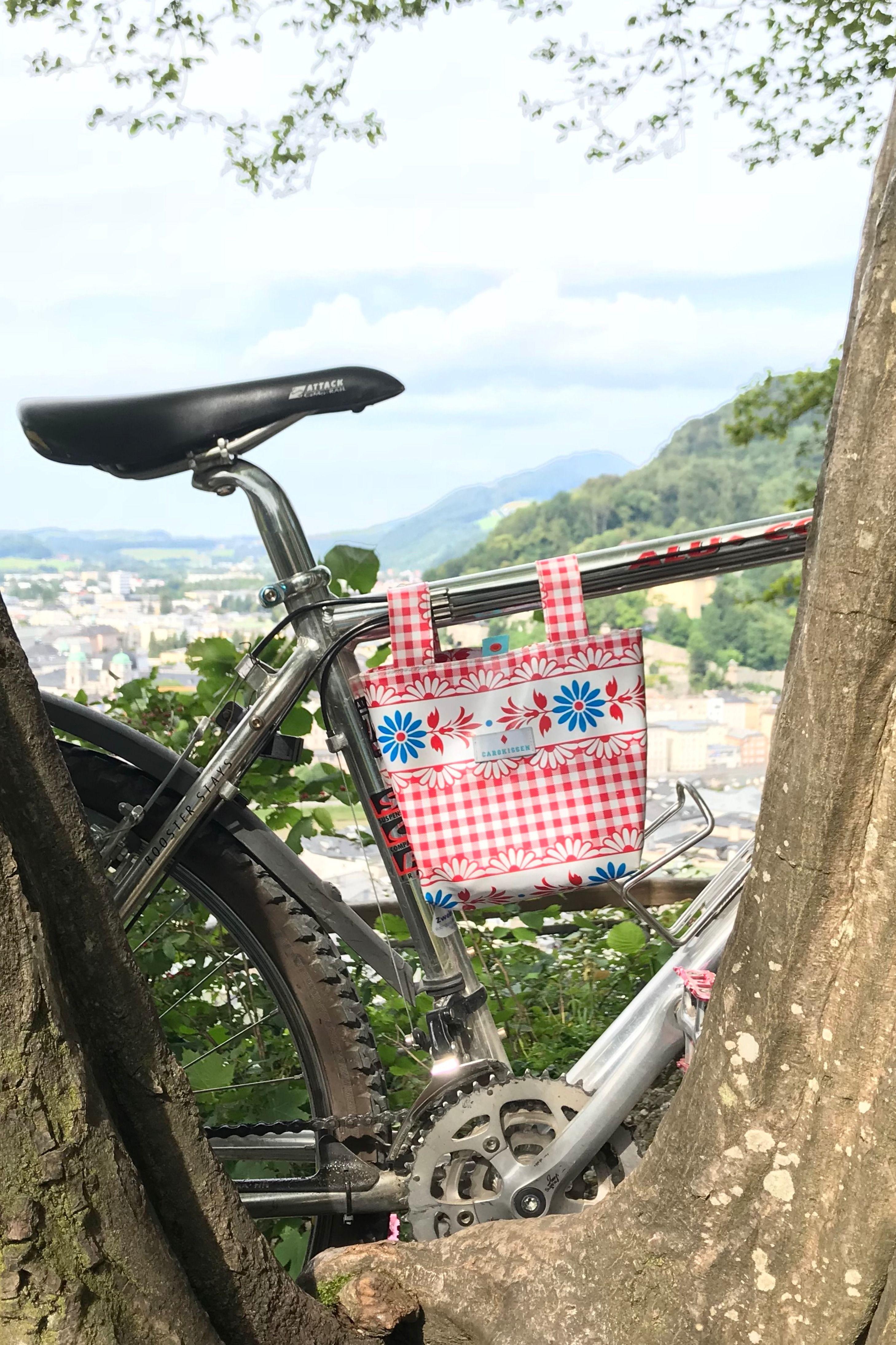 Abwaschbare Fahrradtasche Aus Wachstuch Furs Mountainbike Und Alle Anderen Fahrrader Gross Genug Fur Die 7 Sachen Schnell Befestigt Dan Fahrradtasche Fahrrad
