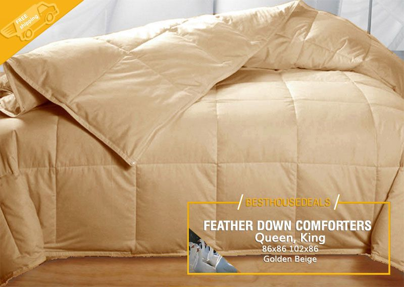100 Goose Feather Down Comforters 95 5 Soft Bed Comforter Queen King Golden Down Comforter Down Comforters Bed Comforters