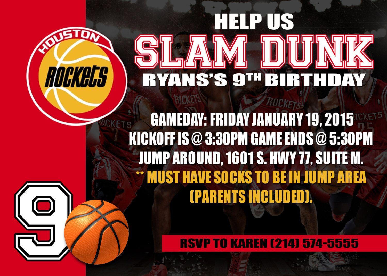 Houston Rockets or any other NBA Printable Digital Birthday ...