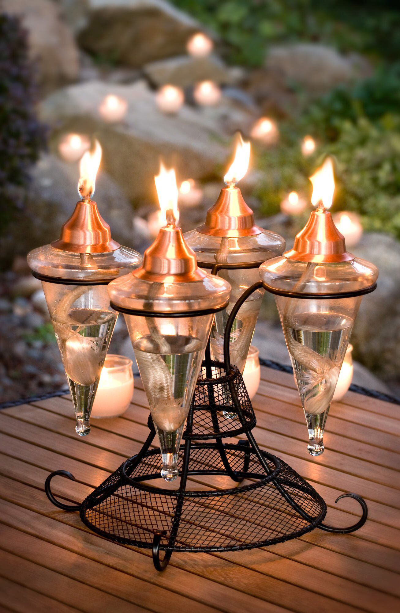 Unique Gift Idea Glass Torch Outdoor Lighting H Potter Tabletop