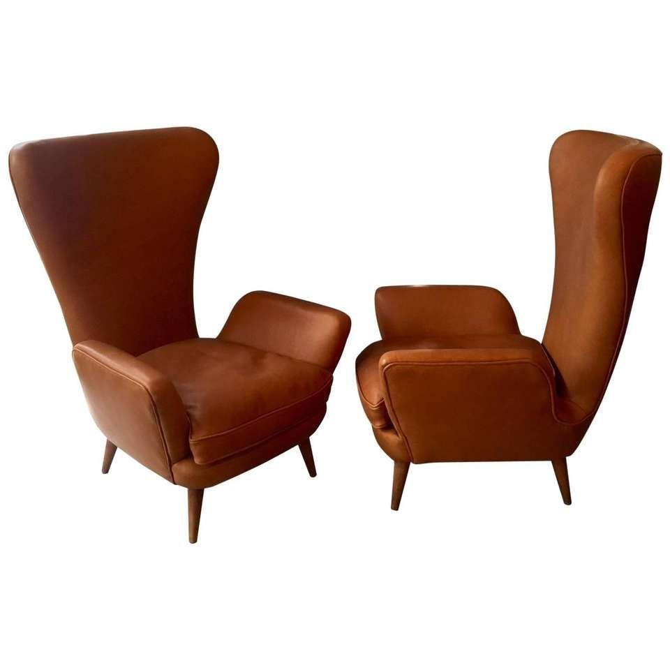 Unusual Mid Century Tan Leather Lounge Chairs Pair 1 6400 Leather Lounge Chair Armchair Armchair Vintage