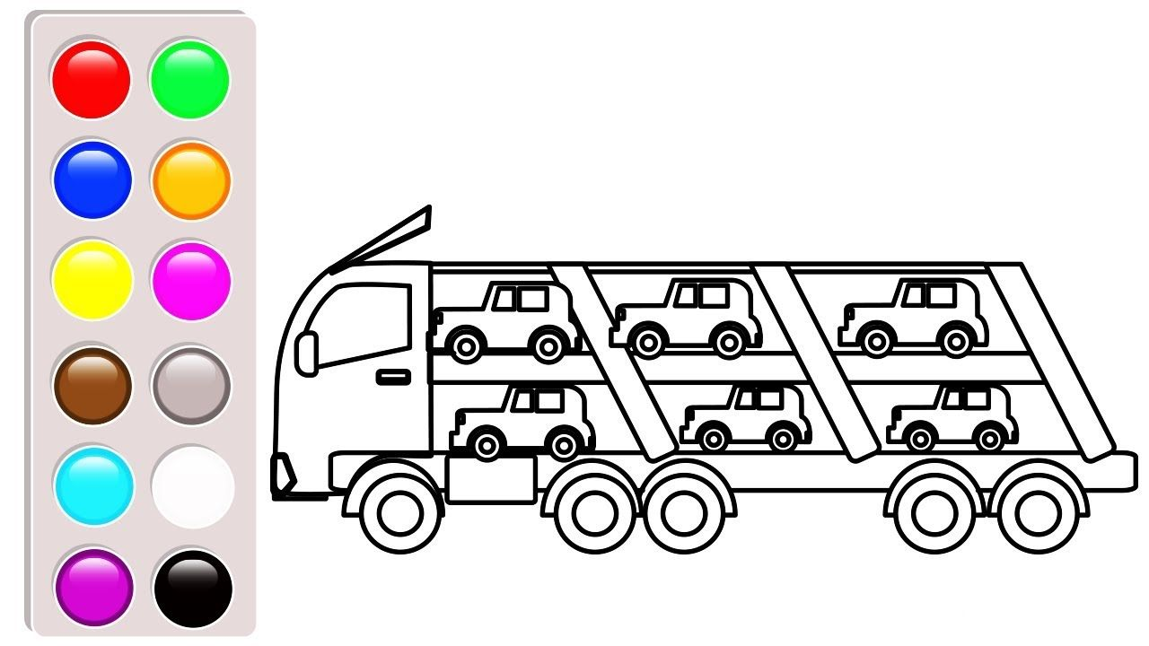 Car And Truck Coloring Pages For Children Learn Colors With Car Carrier Truck Coloring Pages Cars Coloring Pages Coloring Pages For Kids