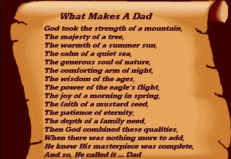 Father 39 s day poems share these poems with your pupils for What makes a good father quotes