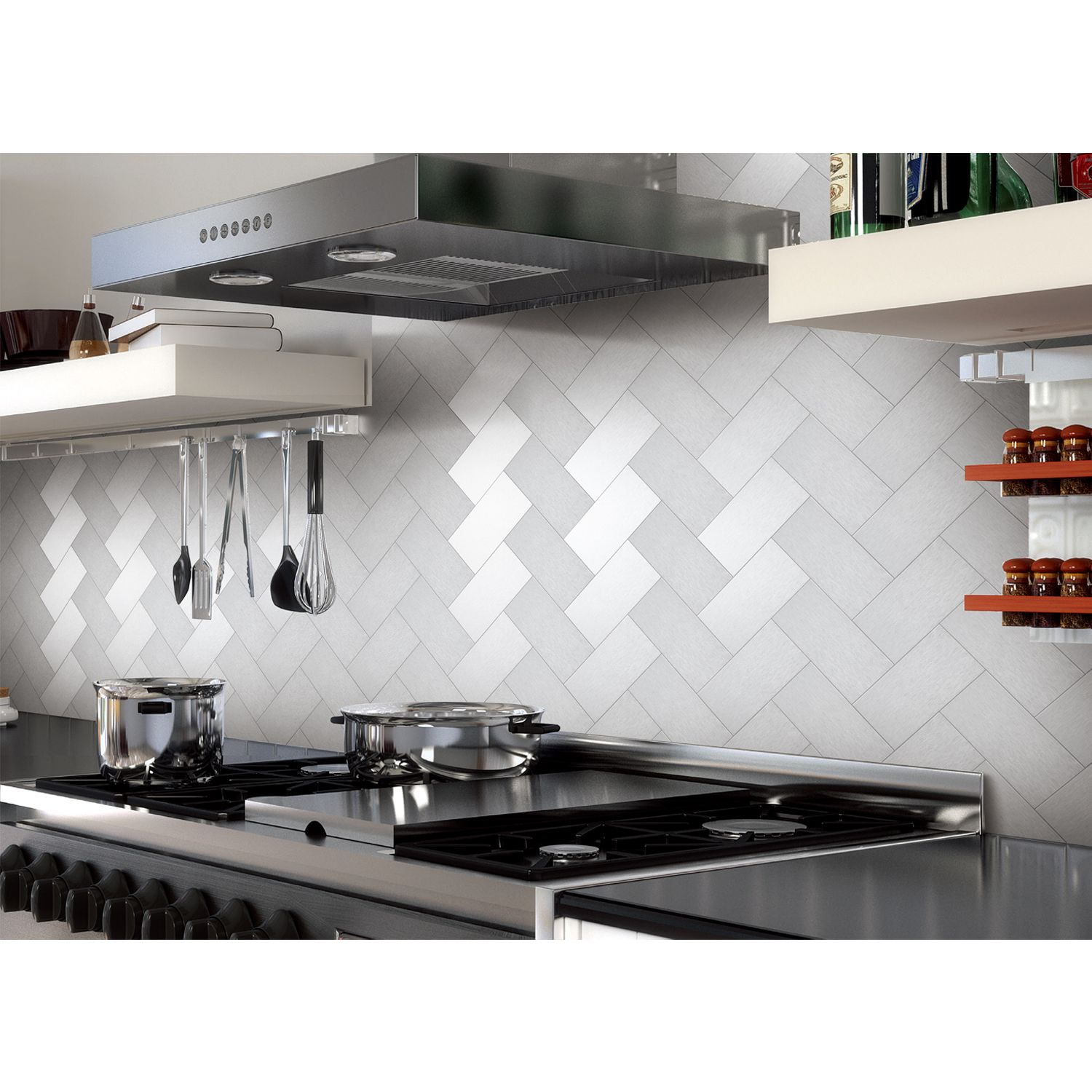 Medium image of 32 pieces peel and stick kitchen backsplash adhesive metal tiles for wall